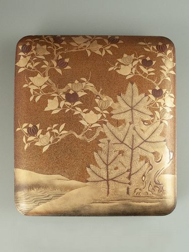 Japanese Antique Lacquer Suzuribako with Pines and Tachibana