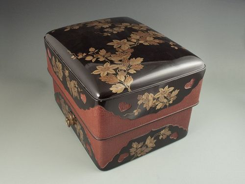 Japanese Antique Lacquer Document Box with Clematis Vine