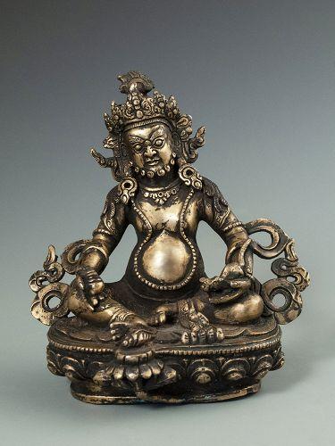 Antique Himalayan Gilt Bronze Kubera Diety