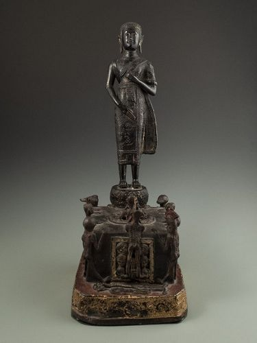 Antique Thai Ksitigarbha Gilt Bronze Figure