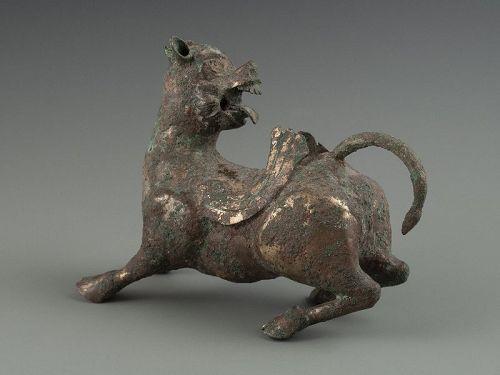 Chinese Han Dynasty Gilt Bronze Chimera