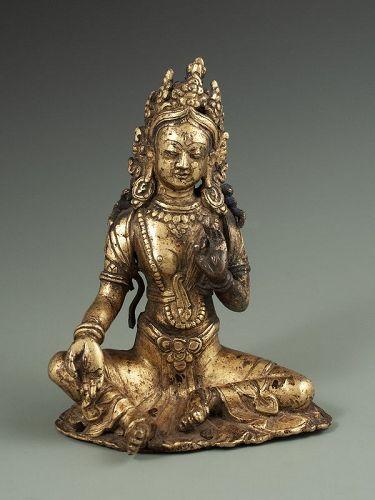 Antique Tibetan Gilt Bronze Tara Bodhisatva