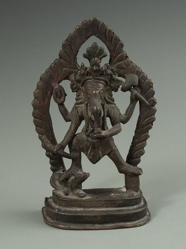 Indian Antique Bronze Dancing Ganesha