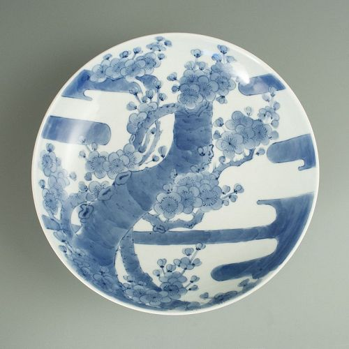 Nabeshima Blue and White Plate with Plum Blossoms and Clouds