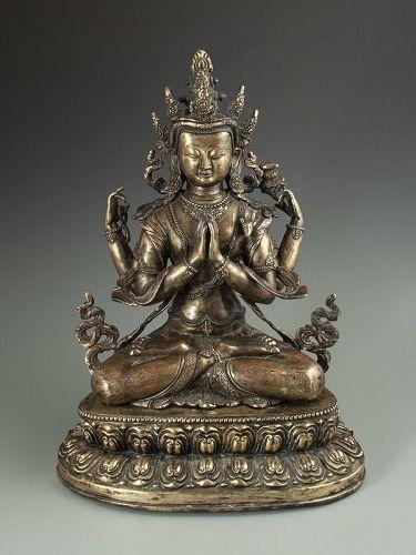 Nepalese Antique Bronze Seated Bodhisatva