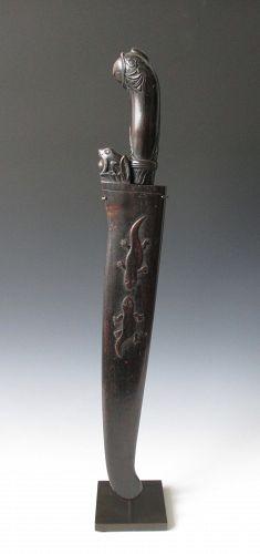 Antique Indonesian karambit knife and sheath