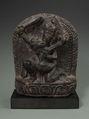 Nepalese Black Stone Stele of Manjusri and Sakti