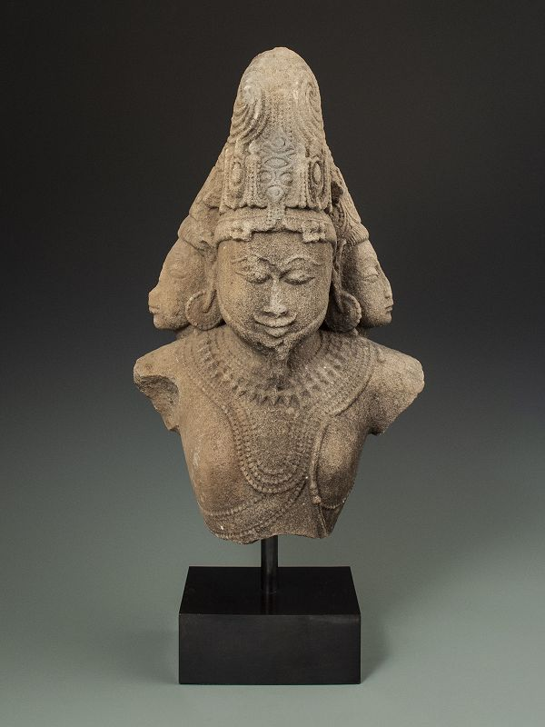 17th C. Indian Stone Bust of Brahma