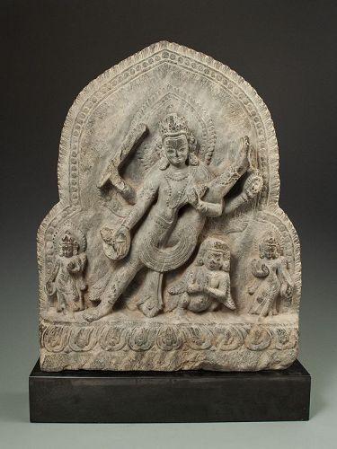 Mid 17th Century Nepalese Stone Stele Vishnu Striding Earth