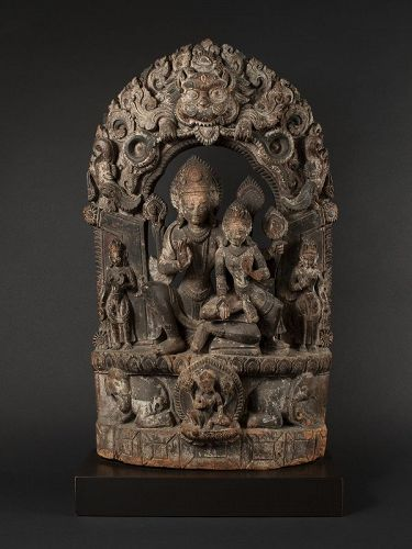 Early 18th Century Indian Wood Stele of Indra and Consort