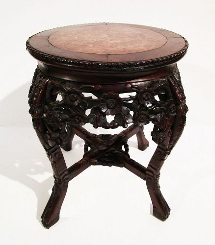 Antique Chinese Hardwood Marble Top Side Table Reticulated Carving