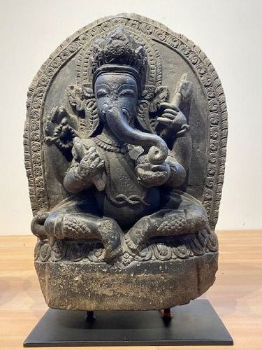 Exceptional 17th C. Nepalese Antique Ganesha Stone Stele