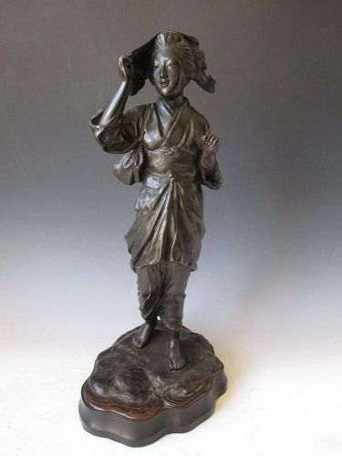 Antique Signed Japanese Bronze Pearl Diver Statue