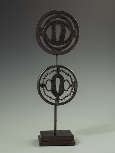 Hidden Christian Motif on a  Japanese Pair of Tsuba with Stand