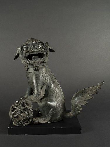 Chinese Bronze Fu Dog Incensor, MIng Dynasty