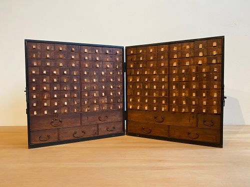 Very Rare Antique Japanese Traveling Kusuri Tansu Medicine Chest