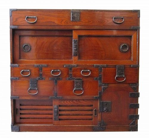 Antique Japanese Choba Tansu (Merchant Chest) Lacquered Keyaki