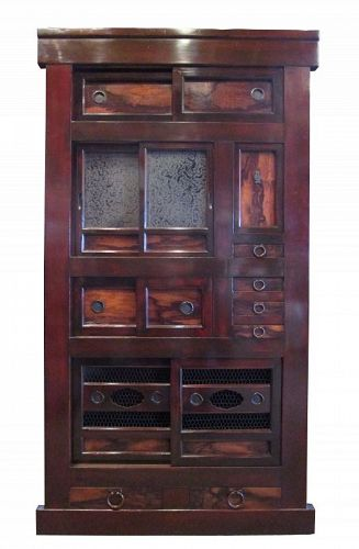 Antique Japanese Gifu Mizuya (Kitchen Chest) Persimmon Wood Accents