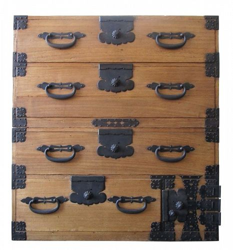 Antique Japanese Kiri Kasane Tansu 2 Section with Secret Box