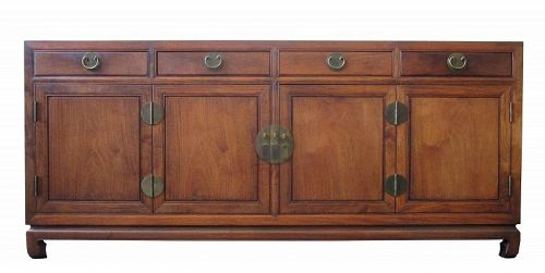 Mid Century Chinese Buffet Console Chest or Cabinet Hauli Wood