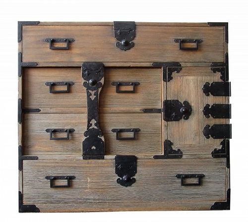 Antique Japanese Ko Bo Tansu (Personal Storage Chest with Locking Bar)