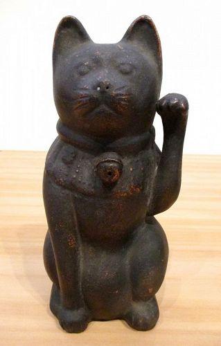 Japanese Bizen Maneki Neko Beckoning Cat