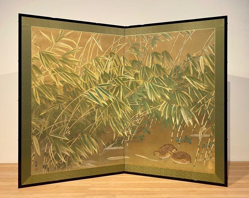 Quail in Autumn Reeds Byobu (screen)