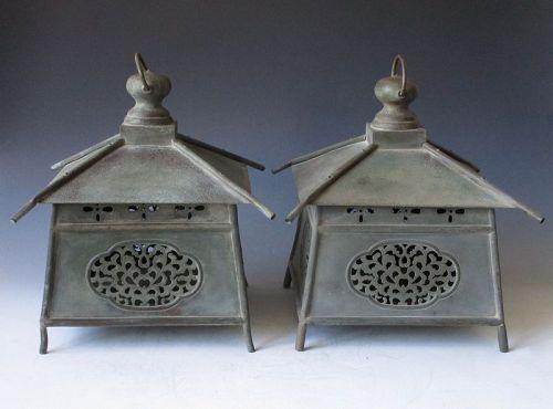 Antique Japanese Pair of Bronze Garden Temple Lanterns