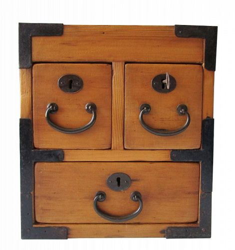 Antique Japanese Chobako (Merchant Box) Hinoki Meiji period