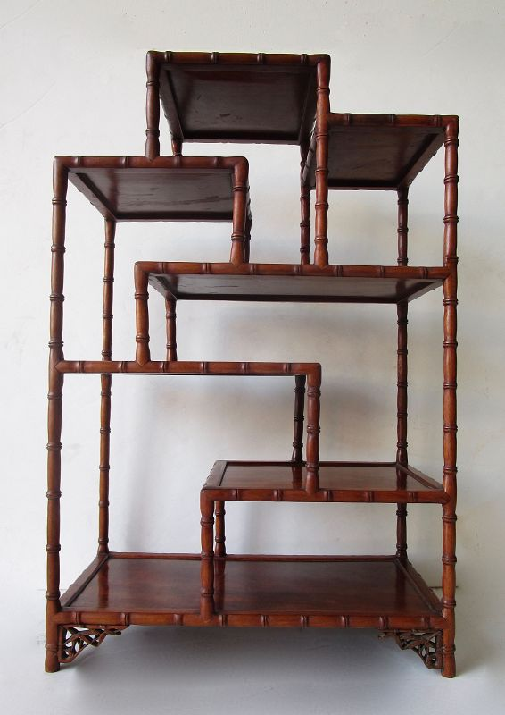 Antique Chinese Rosewood Etagere Display Stand Handcarved Faux Bamboo