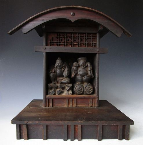 Antique Japanese Shinto Shrine Housing Ebisu & Daikoku Dieties Mingei