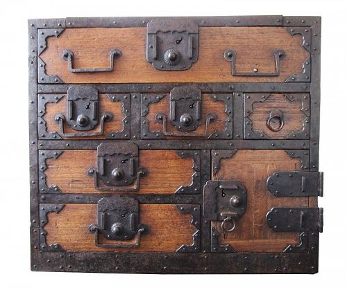 Rare Antique Japanese Funa Tansu Kirinoki Edo w/ Secret Box