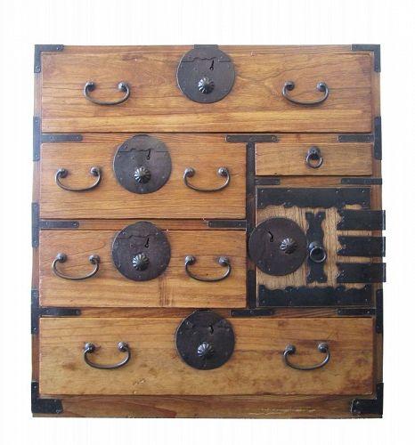 Antique Japanese Ko Tansu (Personal Storage Chest) Kiri/Sugi Meiji Era