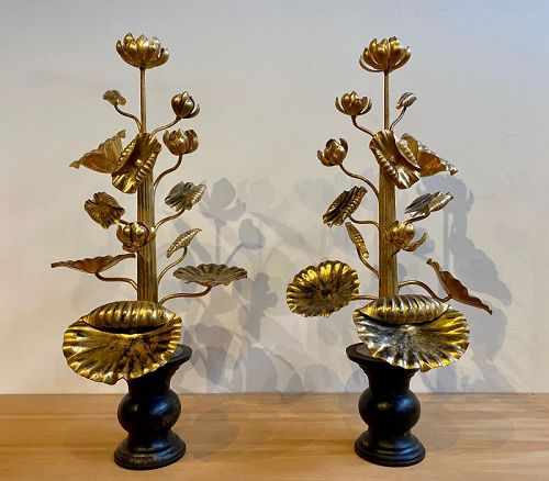 Rare Large Pair of Japanese Gold Gilt Temple Lotus Flowers