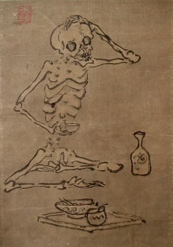 Skeleton in his Cups,  Japanese Scroll Painting,  Edo Period