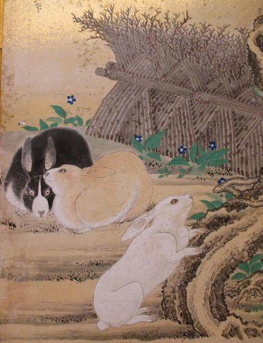 Pair of Summer and Winter Screen Paintings,  Eigaku Kano (1790-1867)