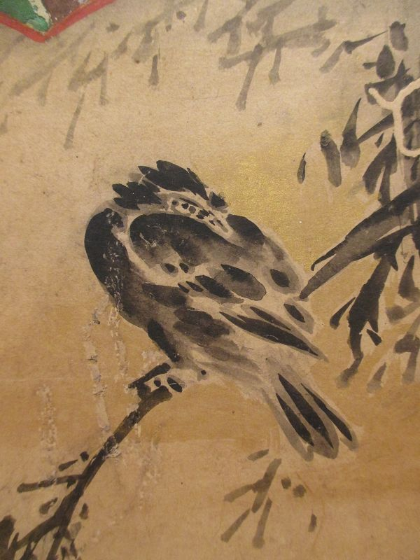 Japanese 2-panel Screen Paintings of Fans, Momoyama Period