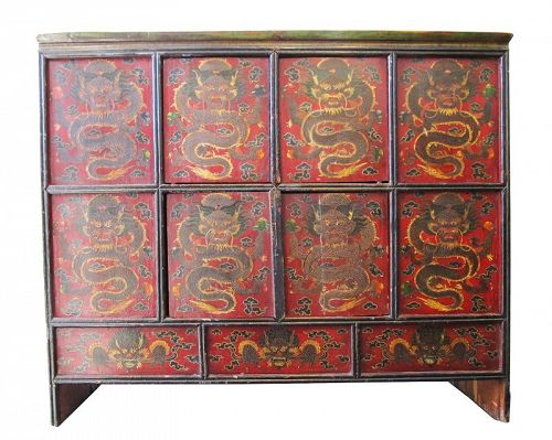 Antique Tibetan Storage Cabinet Late 19th Century Dragon Motif