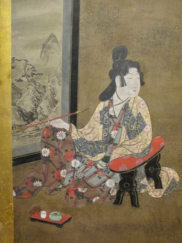 Japanese 2-panel Screen Painting of a Smoking Figure,  Edo Period