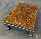 Low Korean Inlaid Brown Lacquered Table W/ 4-Toed Dragon