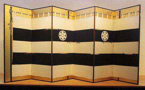 Japanese 6-panel Screen Painting for Samurai Armor Display