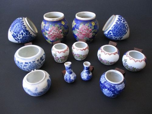 Chinese Antique Group of 13 Porcelain Bird Cage Pieces