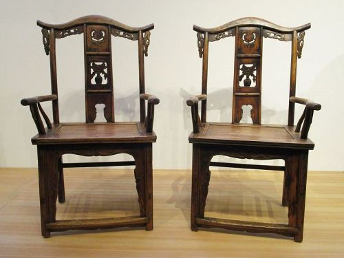 Pair of Antique Chinese Official Hat Chairs Early 19th C Elm Wood