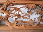 Japanese Ranma Transom Fine Relief Hand Carved Bamboo  & Plum Blossoms
