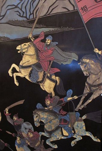 Chinese Antique 12-panel Coromandel Screen with Battle Scene