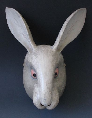 Japanese Rare Usagi (Rabbit or Hare) Noh Mask,  Edo Period