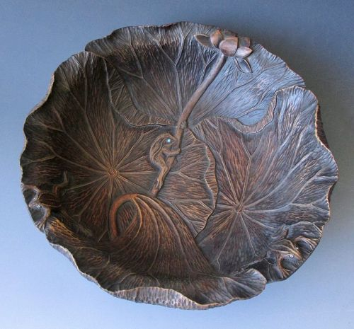 Japanese Carved Wooden Bowl with Frogs,  Meiji Period