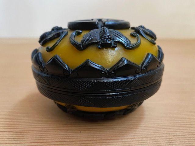 Chinese Mustard Yellow Peking Glass Container