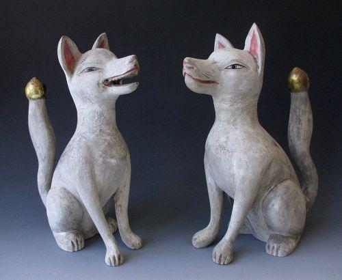 Pair of Antique Japanese Inari Foxes (zenko, good foxes, kitsune)