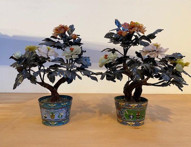 Pair Jade Peony Floral Arrangement in Cloisonne Planters